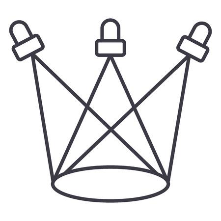 스포츠 조명 벡터 라인 아이콘, 기호, 흰색 배경에 그림 편집 가능한 획