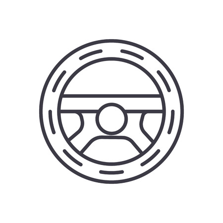 steering wheel,driving vector line icon, sign, illustration on white background, editable strokes