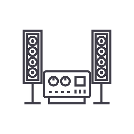 stereo, sound, hi-fi system vector line icon, sign, illustration on white background, editable strokes
