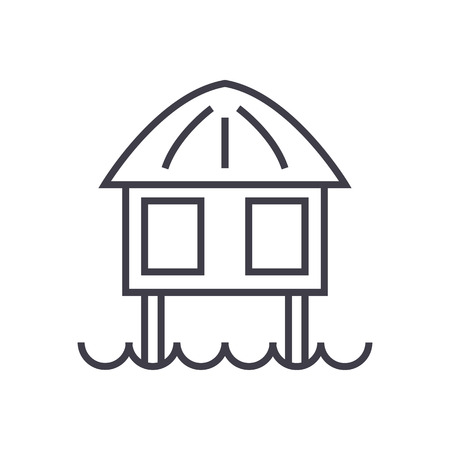 wooden post: stilt house vector line icon, sign, illustration on white background, editable strokes