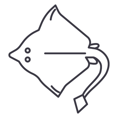 スティングレイ ベクトル ライン アイコン、記号、白い背景に、編集可能なストロークの図