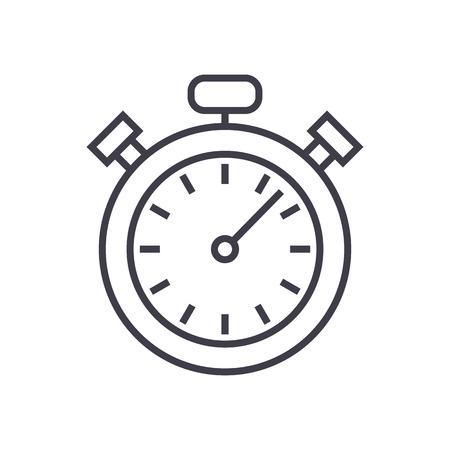 ストップウォッチ、タイマー ベクトル線アイコン、記号、白い背景に、編集可能なストロークの図