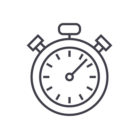 stopwatch,timer vector line icon, sign, illustration on white background, editable strokes Illustration