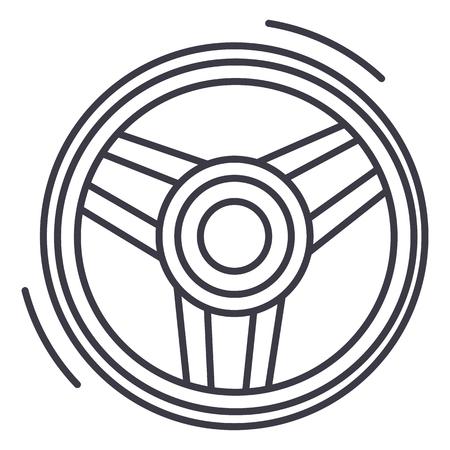 steering wheel  vector line icon, sign, illustration on white background, editable strokes