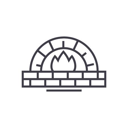 ícone de linha de vetor de forno de pedra, sinal, ilustração em fundo branco, traços editáveis Ilustración de vector