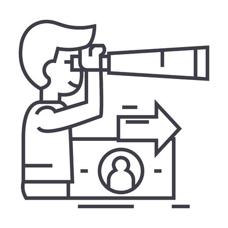 visión estratégica, planificación, hombre con icono de línea de vector de spyglass, signo, ilustración sobre fondo blanco, movimientos editables