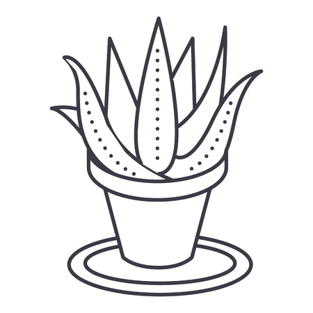 succulents, aloe pot vector line icon, sign, illustration on white background, editable strokes