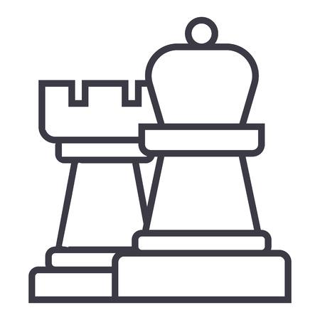전략, 체스 벡터 라인 아이콘, 기호, 흰색 배경에 그림 편집 가능한 획 일러스트