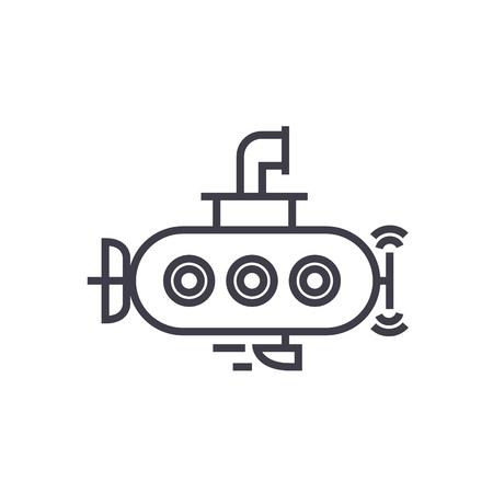 submarine vector line icon, sign, illustration on white background, editable strokes