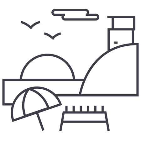 sunday on beach,summer travel vector line icon, sign, illustration on white background, editable strokes