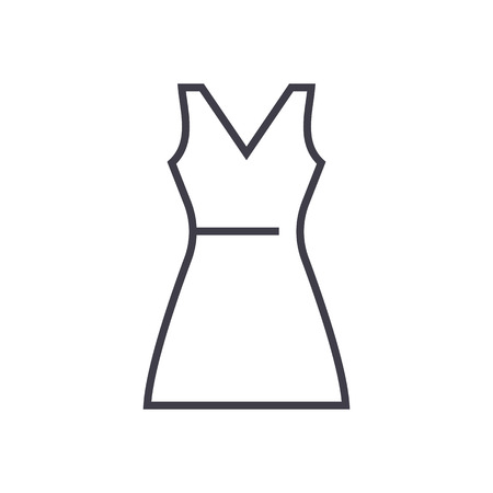sundress vector line icon, sign, illustration on white background, editable strokes