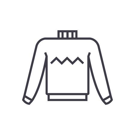 sweater vector line icon, sign, illustration on white background, editable strokes Ilustração