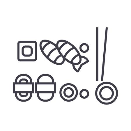 Sushi mix lijn pictogram
