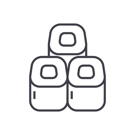 Sushi rolls line icon Illustration