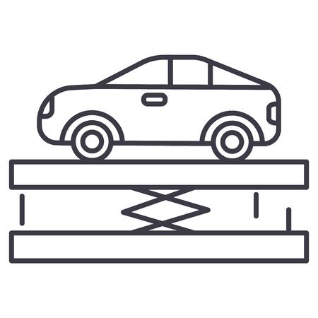 자동차 서비스 라인 아이콘 일러스트