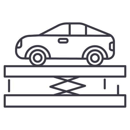 Car service line icon Illustration