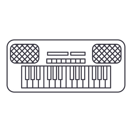 audio mixer: synthesizer vector line icon, sign, illustration on white background, editable strokes