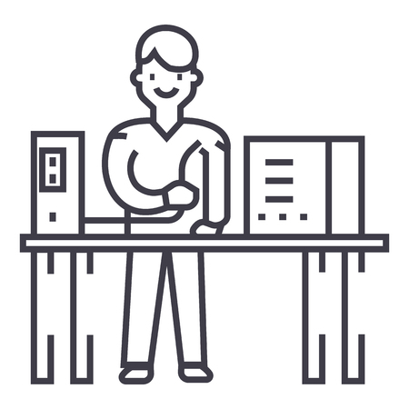System administrator line icon, sign, illustration on white background, editable strokes