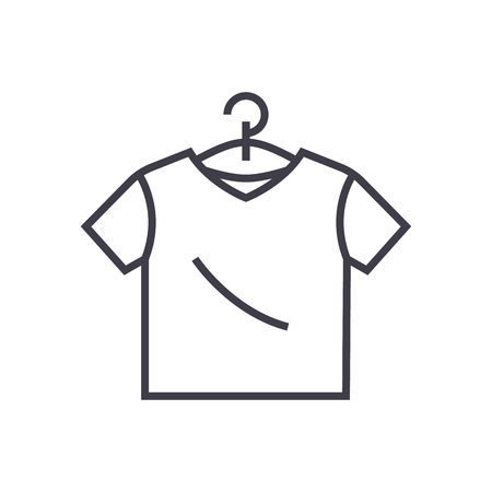 T-shirt line icon, sign, illustration on white background, editable strokes