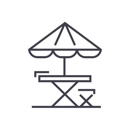 テーブル、椅子、太陽の傘ライン アイコン、記号、白、編集可能なストロークの図