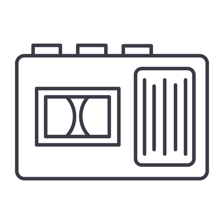 Tape recorder vector line icon, sign, illustration on white background, editable strokes Ilustrace