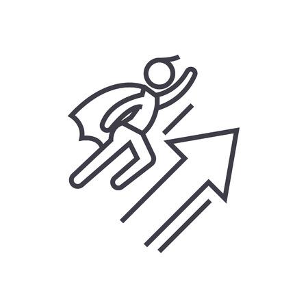 Team motivation line icon Illustration
