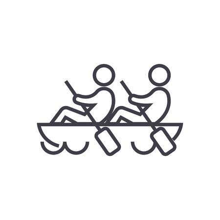 Equipo, trabajo en equipo, remo en línea icono de canoa, signo, ilustración sobre fondo blanco, movimientos editables Ilustración de vector