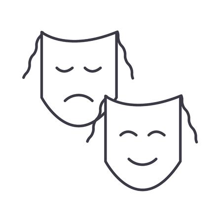 Masks line icon Ilustração