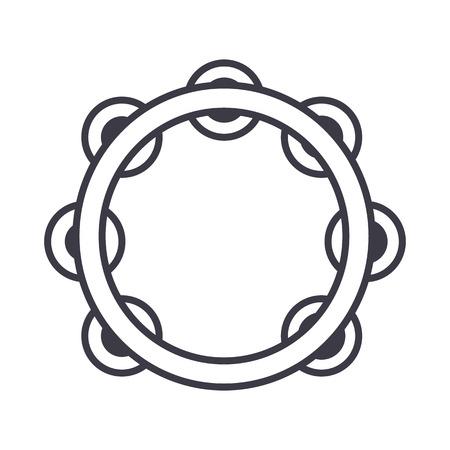 Tamboerijn lijn pictogram Stock Illustratie