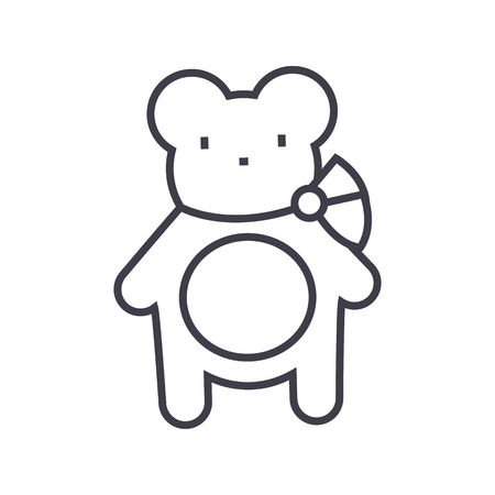 Teddy bear line icon Illustration