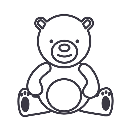 child sitting: Teddy bear line icon Illustration