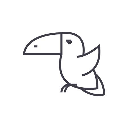Toucan vogel lijn pictogram Stock Illustratie