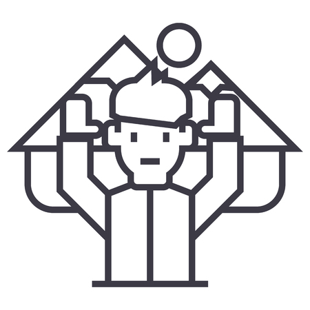 Traveler with hands up line icon