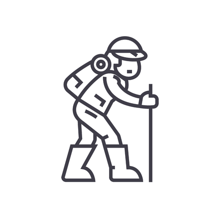 Hiking man line icon Stock Vector - 87221008