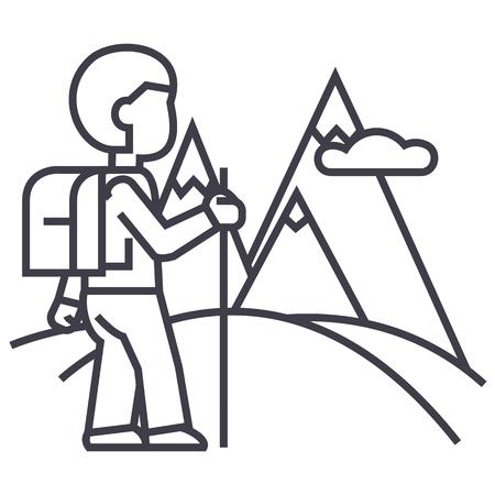 hiking trail: Traveler line icon Illustration