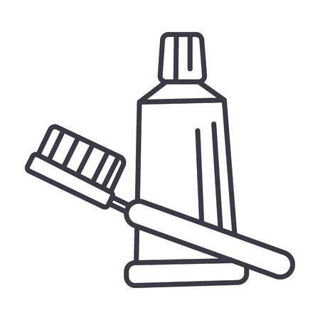 歯ブラシ、歯磨き粉の線アイコン