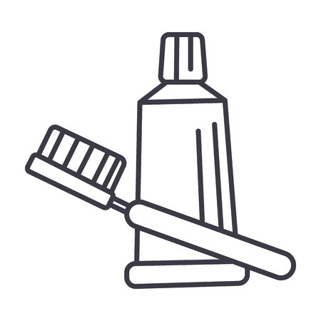 Tooth brush, toothpaste line icon
