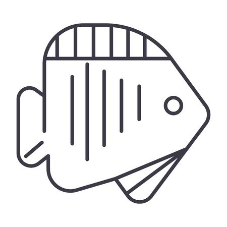 Icône de la ligne de poissons Banque d'images - 87221023