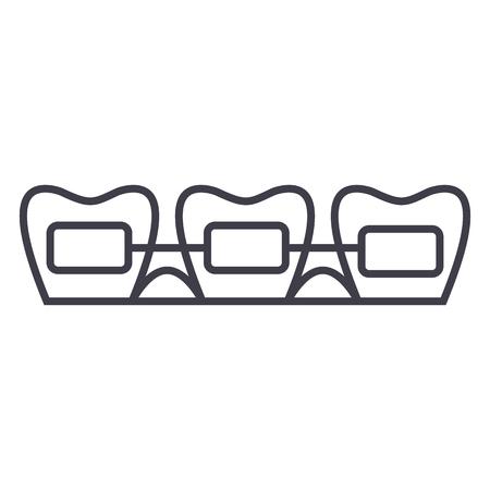 Tooth braces line icon