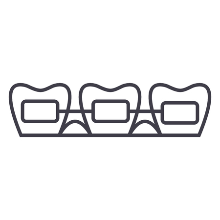 Tooth braces line icon Stock Vector - 87221032