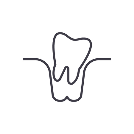 Tooth extraction line icon