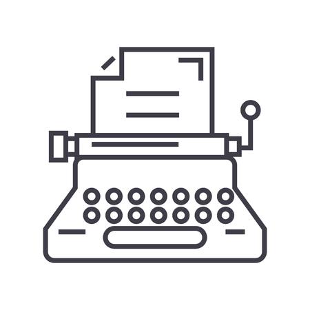 Typewriter line icon Illustration