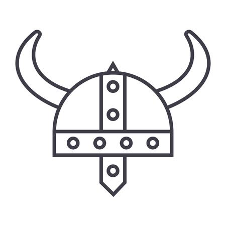 Viking helmet line icon