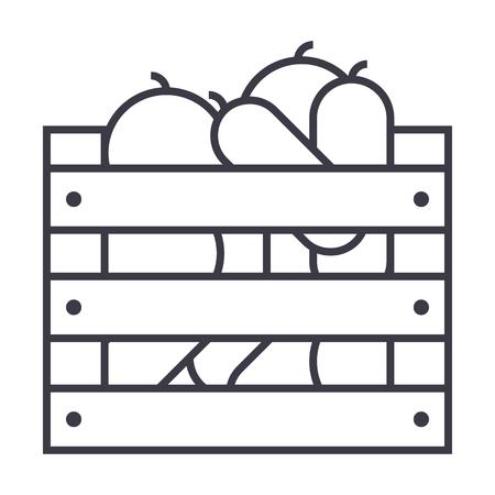 Légumes dans l'icône de ligne boîte de récolte Banque d'images - 87221054