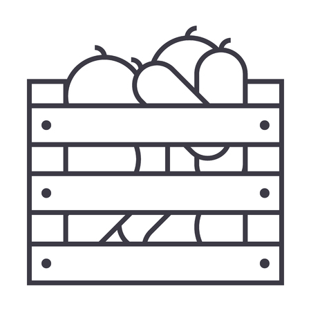 Vegetables in harvest box  line icon Stock Vector - 87221054