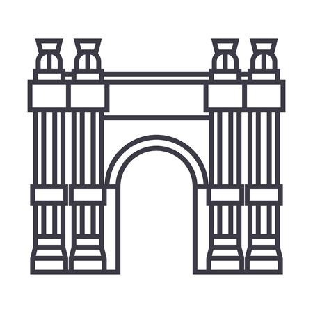 凱旋門のアーチ ライン アイコン  イラスト・ベクター素材