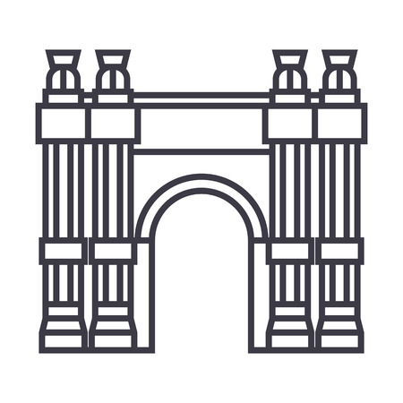 Triumphal arch line icon Illustration