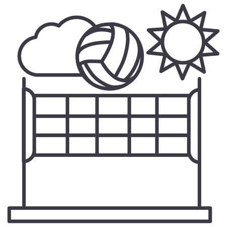Volleyball line icon Illustration