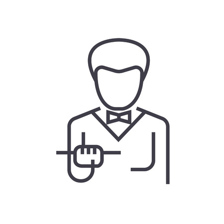 Waiter with food tray line icon Иллюстрация