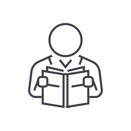 Gebruiker leest boek lijn pictogram